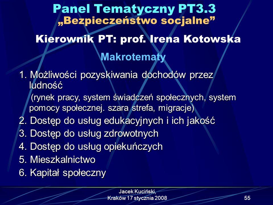 """Panel Tematyczny PT3.3 """"Bezpieczeństwo socjalne Kierownik PT: prof. Irena Kotowska. Makrotematy."""