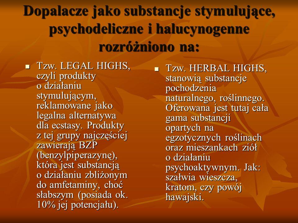 Dopalacze jako substancje stymulujące, psychodeliczne i halucynogenne rozróżniono na: