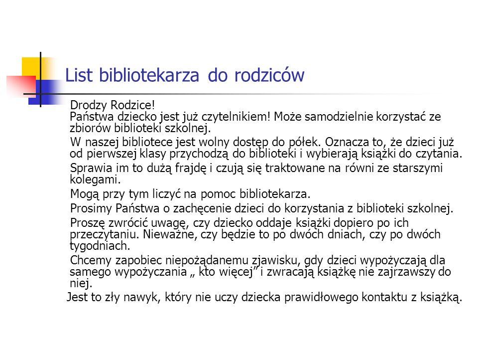 List bibliotekarza do rodziców