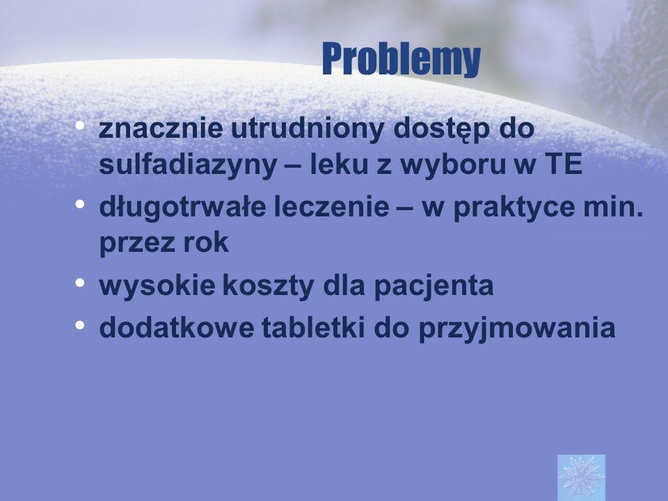 Problemy znacznie utrudniony dostęp do sulfadiazyny – leku z wyboru w TE. długotrwałe leczenie – w praktyce min. przez rok.