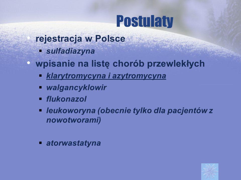 Postulaty rejestracja w Polsce wpisanie na listę chorób przewlekłych