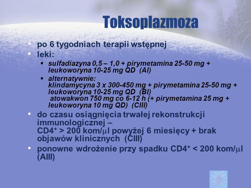 Toksoplazmoza po 6 tygodniach terapii wstępnej leki:
