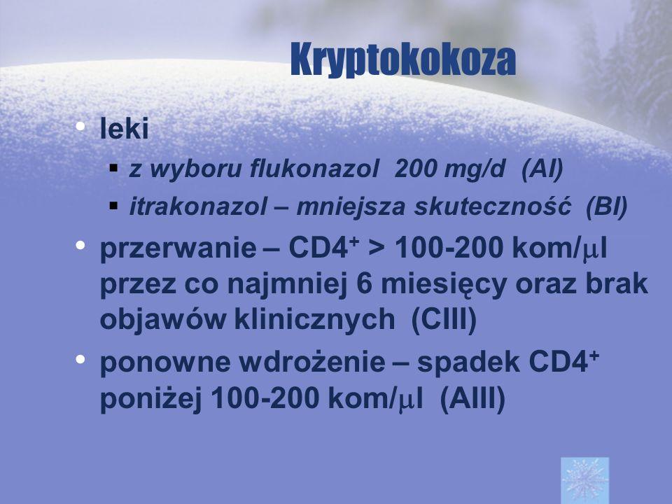 Kryptokokozaleki. z wyboru flukonazol 200 mg/d (AI) itrakonazol – mniejsza skuteczność (BI)