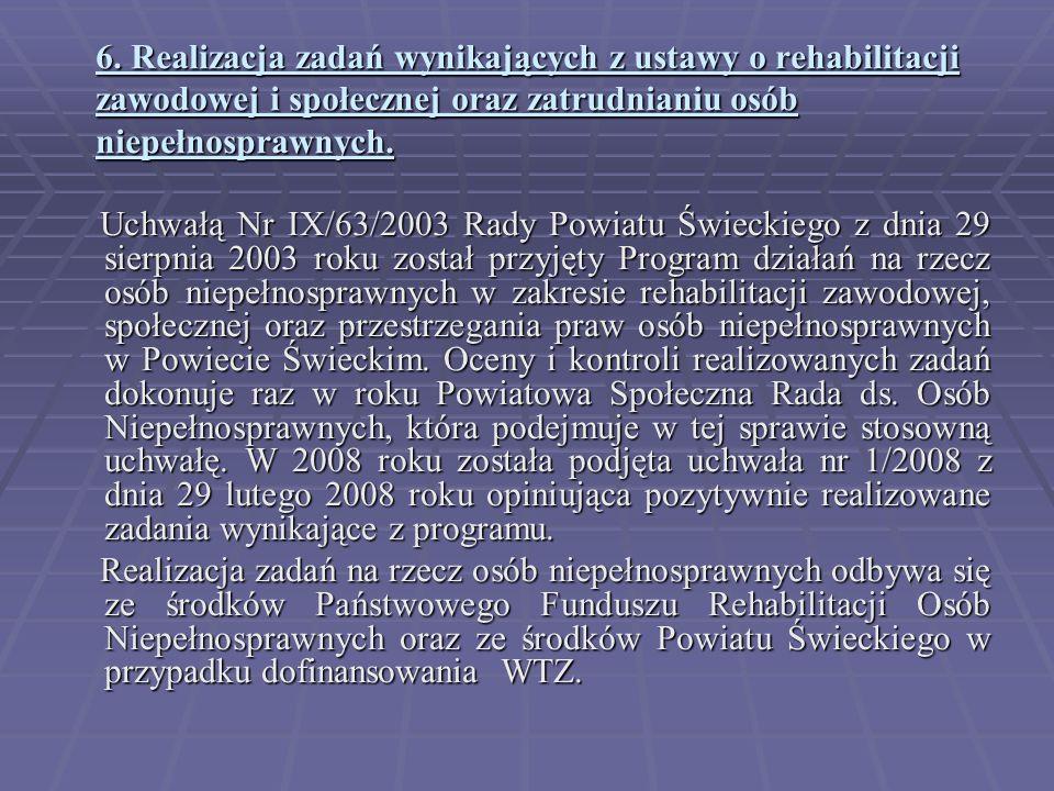 6. Realizacja zadań wynikających z ustawy o rehabilitacji zawodowej i społecznej oraz zatrudnianiu osób niepełnosprawnych.