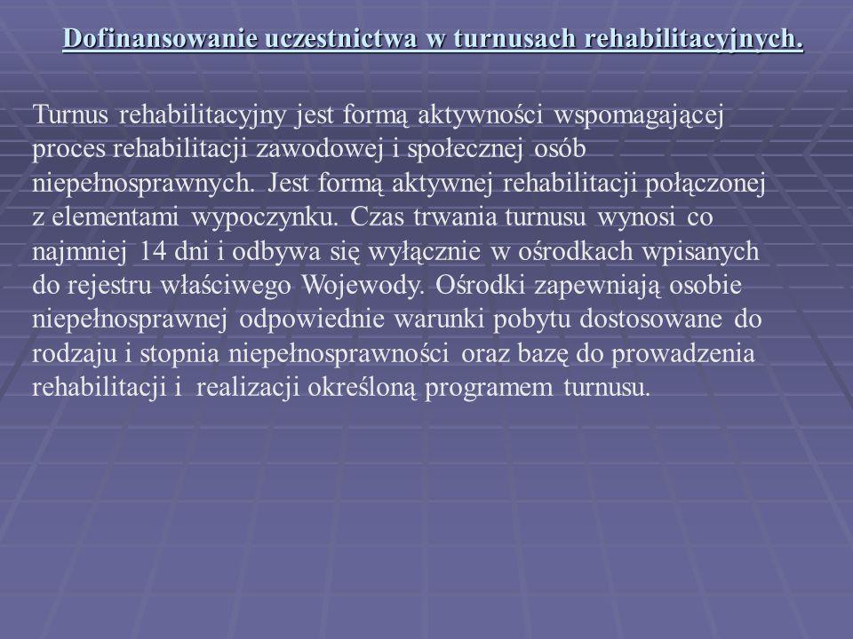 Dofinansowanie uczestnictwa w turnusach rehabilitacyjnych.
