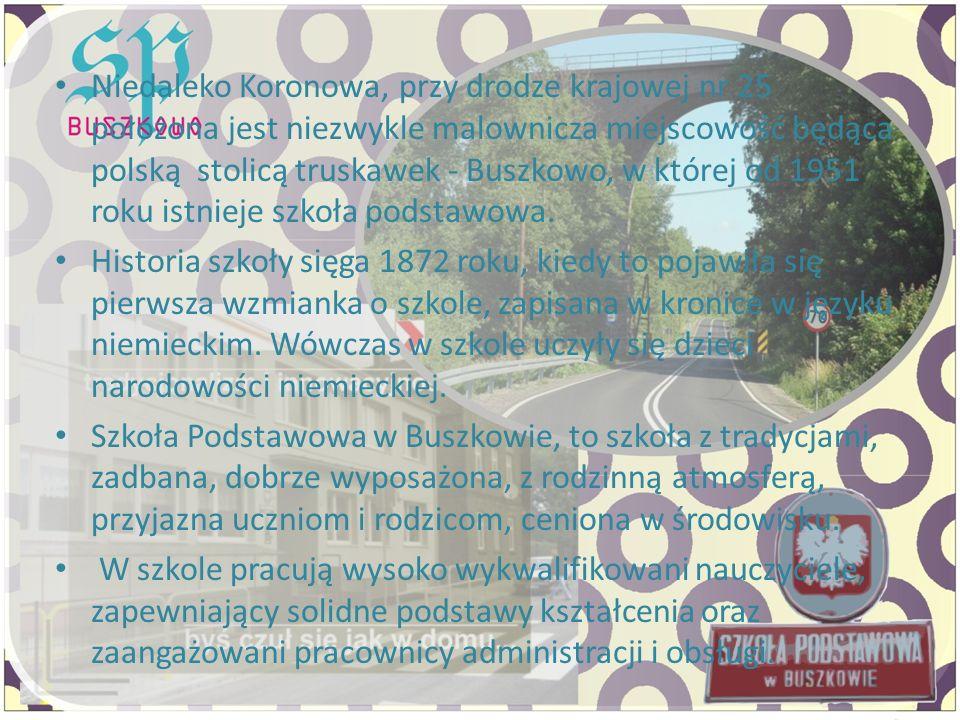 Niedaleko Koronowa, przy drodze krajowej nr 25 położona jest niezwykle malownicza miejscowość będąca polską stolicą truskawek - Buszkowo, w której od 1951 roku istnieje szkoła podstawowa.