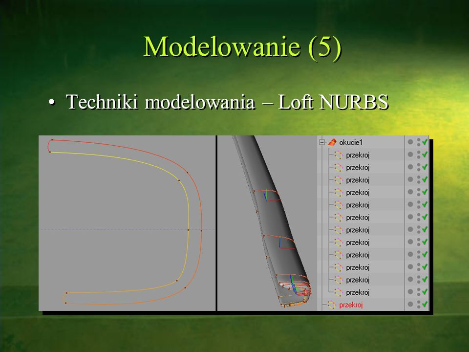Modelowanie (5) Techniki modelowania – Loft NURBS