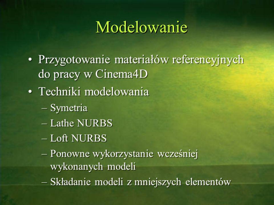 Modelowanie Przygotowanie materiałów referencyjnych do pracy w Cinema4D. Techniki modelowania. Symetria.