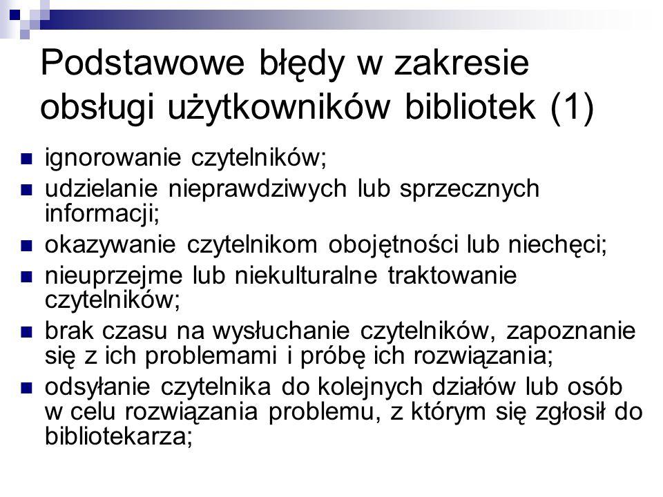 Podstawowe błędy w zakresie obsługi użytkowników bibliotek (1)