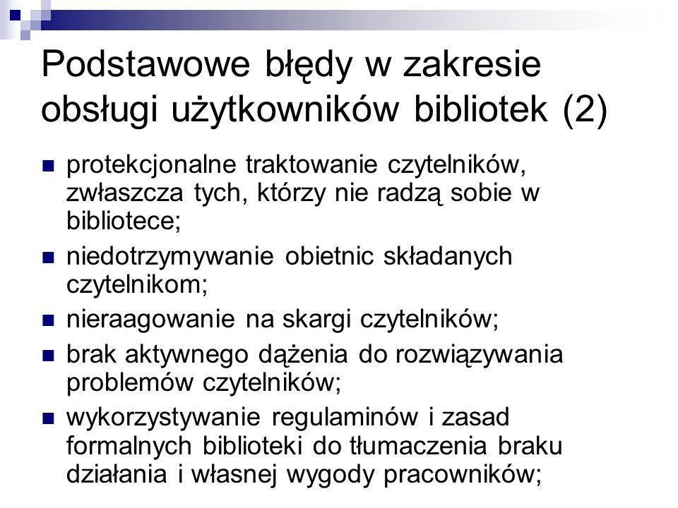 Podstawowe błędy w zakresie obsługi użytkowników bibliotek (2)