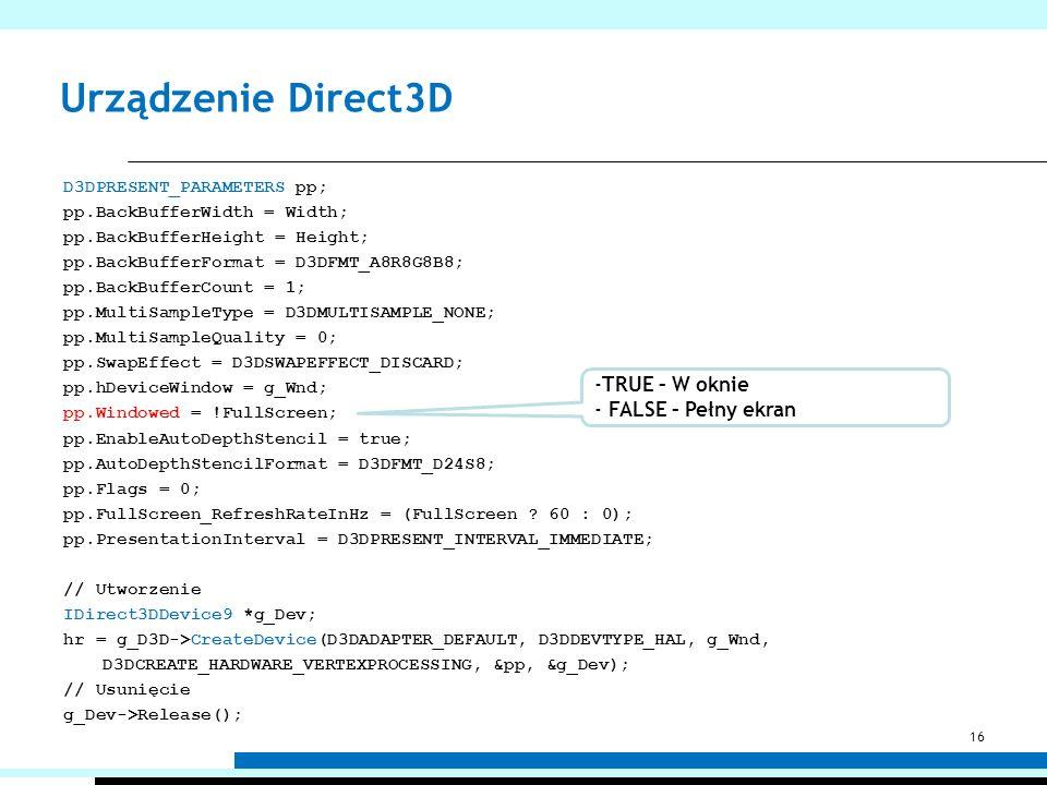 Urządzenie Direct3D TRUE – W oknie FALSE – Pełny ekran
