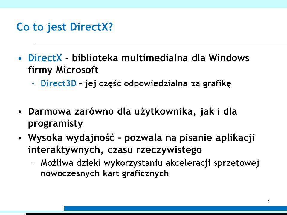 Co to jest DirectX DirectX – biblioteka multimedialna dla Windows firmy Microsoft. Direct3D – jej część odpowiedzialna za grafikę.