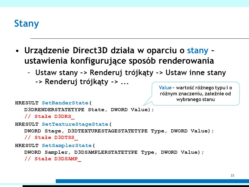 Stany Urządzenie Direct3D działa w oparciu o stany – ustawienia konfigurujące sposób renderowania.