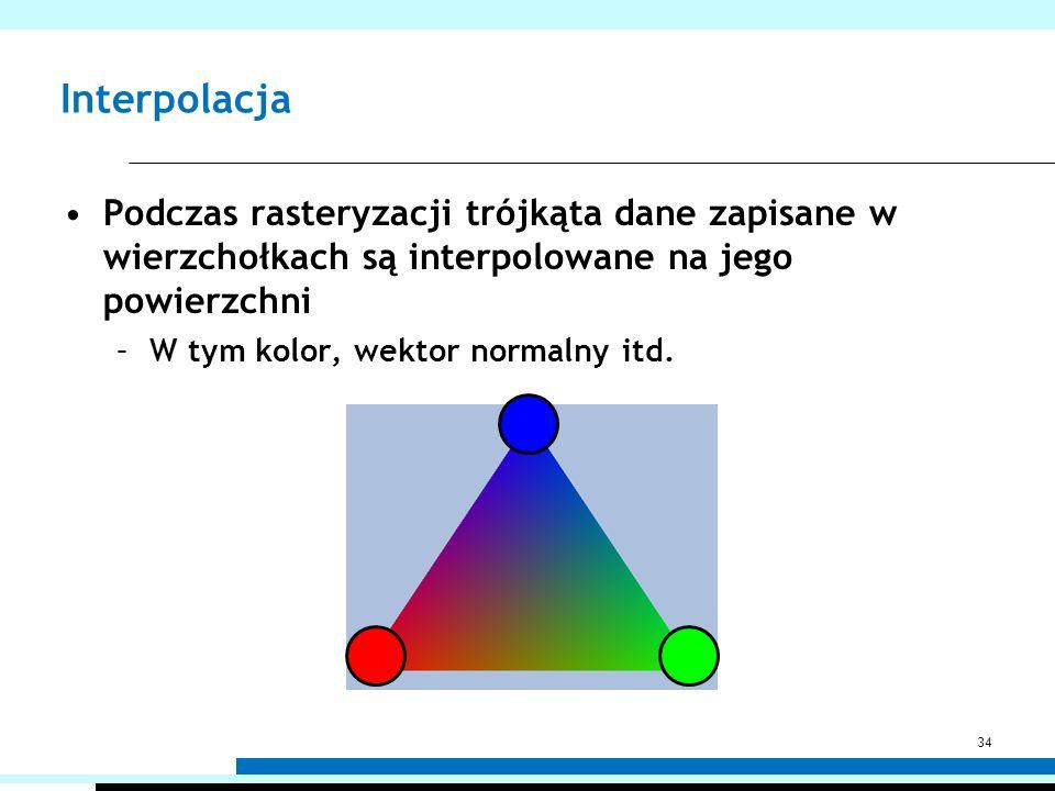 Interpolacja Podczas rasteryzacji trójkąta dane zapisane w wierzchołkach są interpolowane na jego powierzchni.