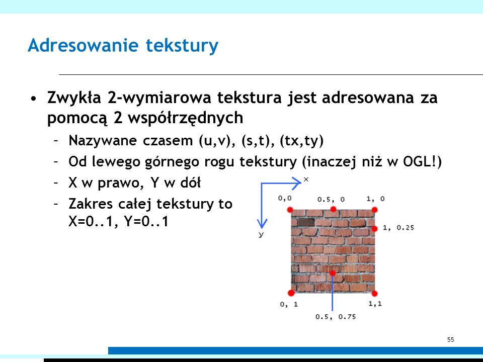 Adresowanie tekstury Zwykła 2-wymiarowa tekstura jest adresowana za pomocą 2 współrzędnych. Nazywane czasem (u,v), (s,t), (tx,ty)