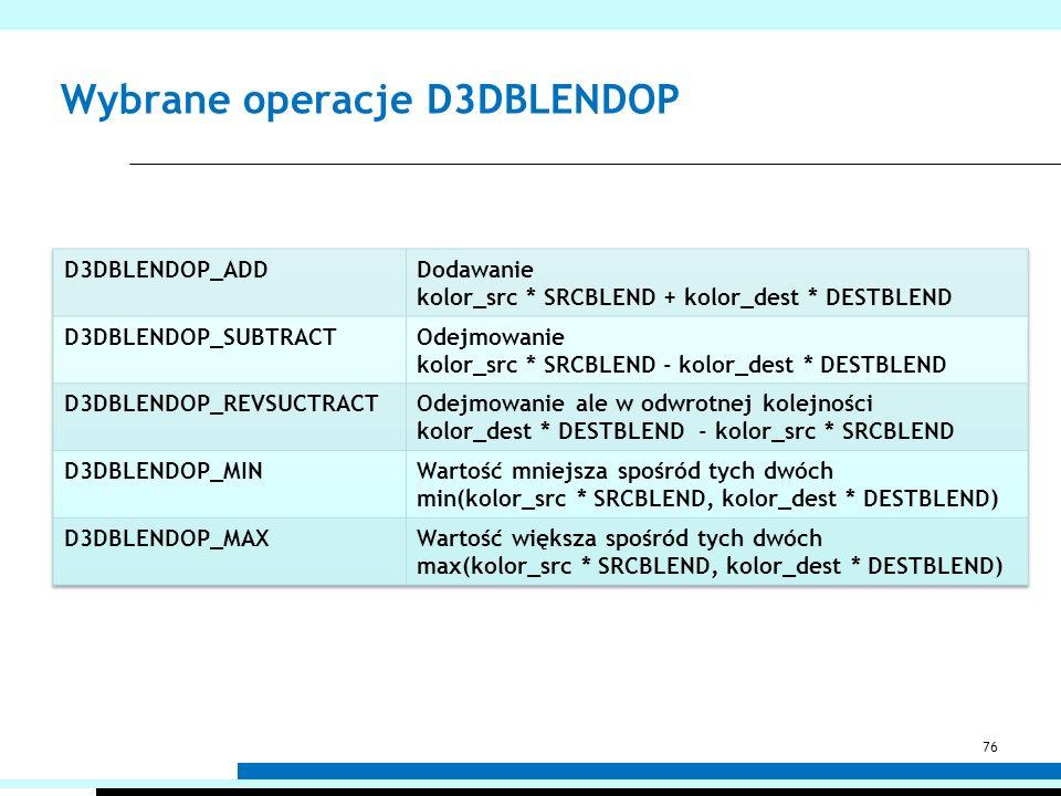 Wybrane operacje D3DBLENDOP