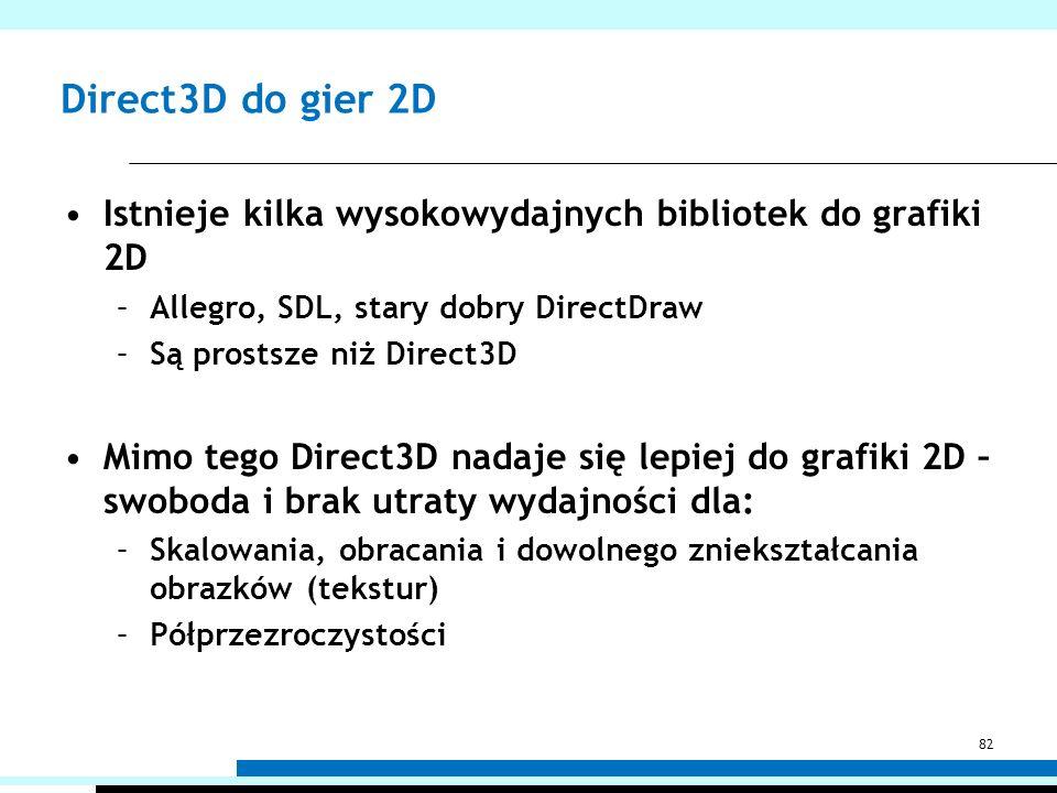 Direct3D do gier 2D Istnieje kilka wysokowydajnych bibliotek do grafiki 2D. Allegro, SDL, stary dobry DirectDraw.