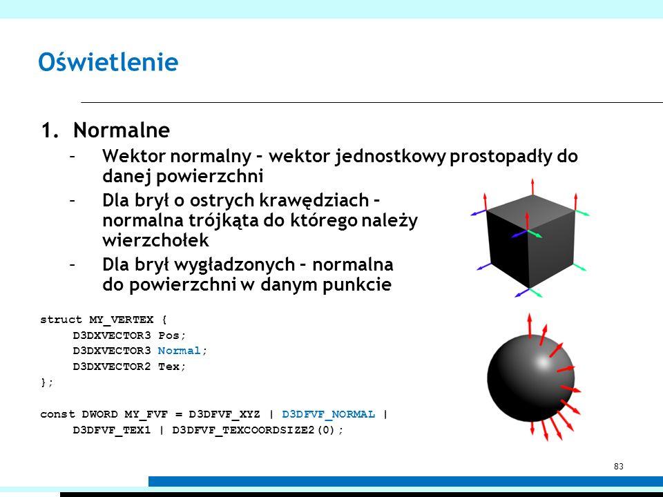 Oświetlenie Normalne. Wektor normalny – wektor jednostkowy prostopadły do danej powierzchni.
