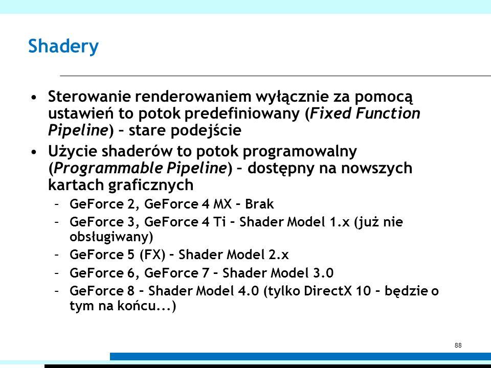 Shadery Sterowanie renderowaniem wyłącznie za pomocą ustawień to potok predefiniowany (Fixed Function Pipeline) – stare podejście.