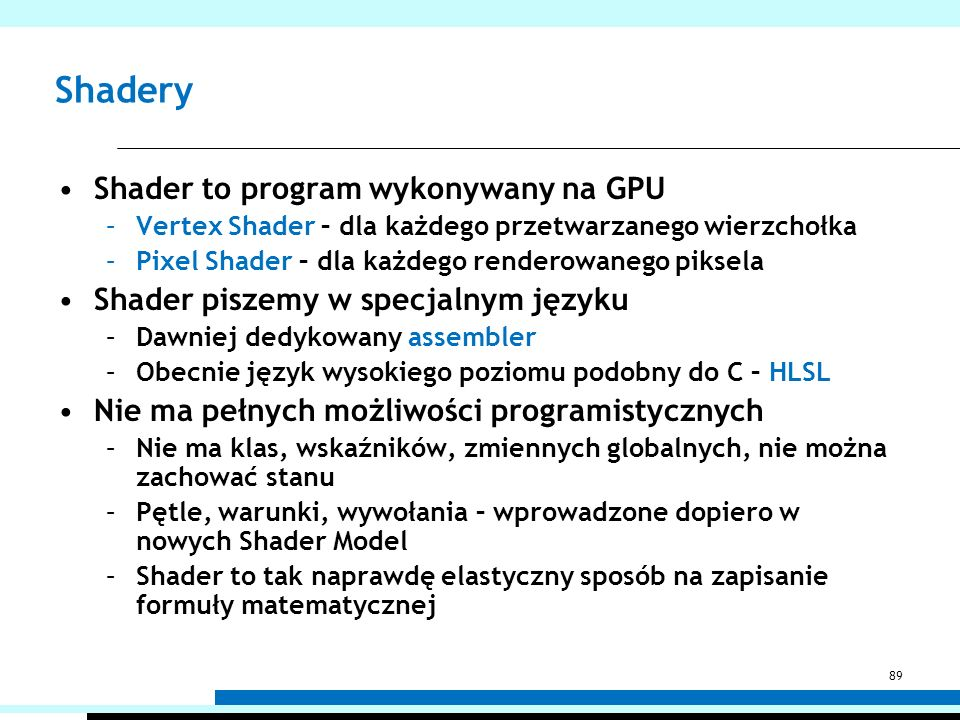 Shadery Shader to program wykonywany na GPU