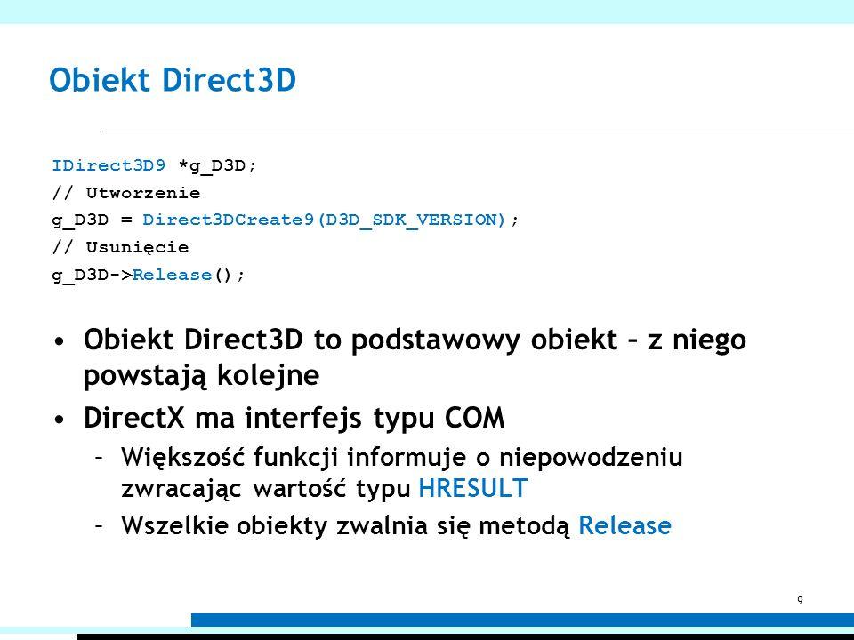 Obiekt Direct3D IDirect3D9 *g_D3D; // Utworzenie. g_D3D = Direct3DCreate9(D3D_SDK_VERSION); // Usunięcie.