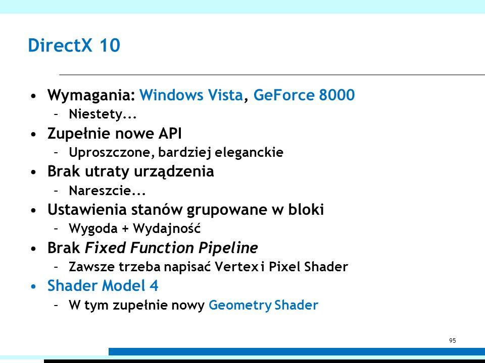 DirectX 10 Wymagania: Windows Vista, GeForce 8000 Zupełnie nowe API