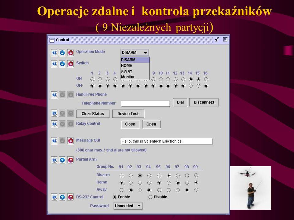 Operacje zdalne i kontrola przekaźników ( 9 Niezależnych partycji)