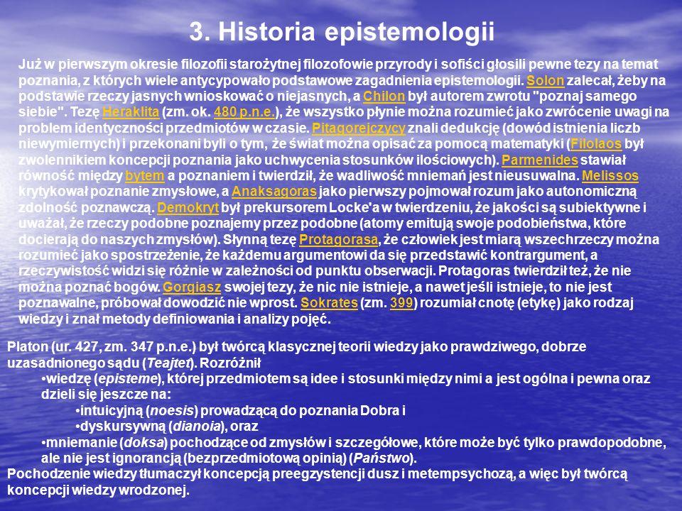 3. Historia epistemologii