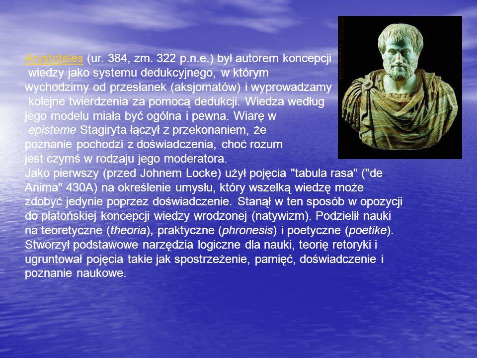 Arystoteles (ur. 384, zm. 322 p.n.e.) był autorem koncepcji