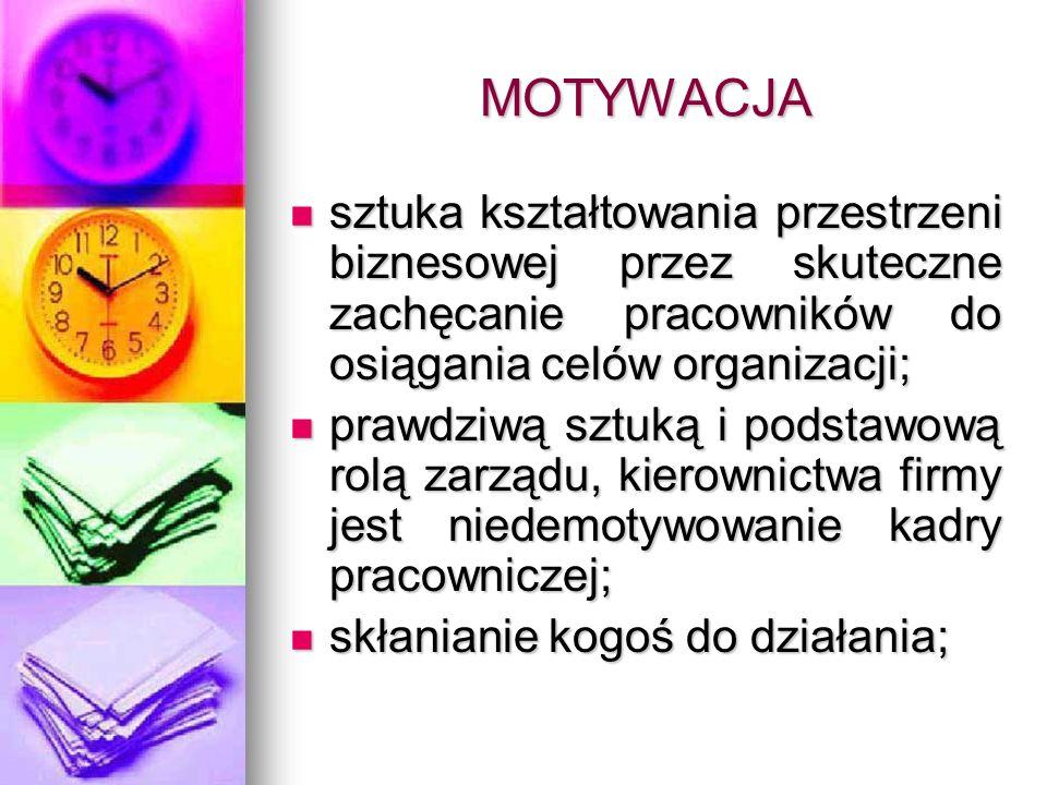 MOTYWACJA sztuka kształtowania przestrzeni biznesowej przez skuteczne zachęcanie pracowników do osiągania celów organizacji;