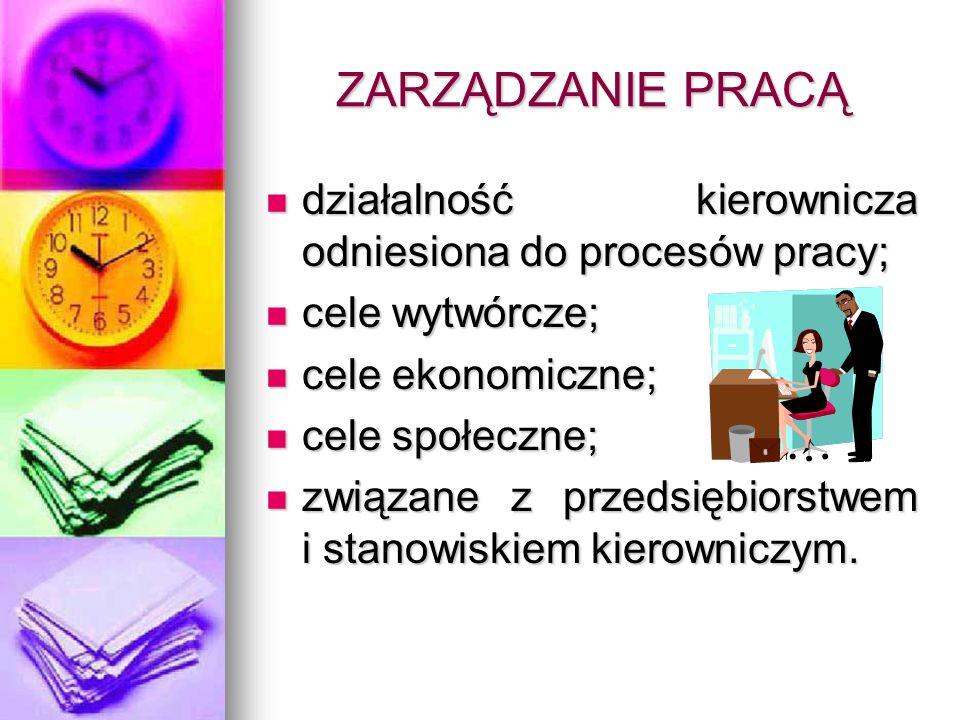 ZARZĄDZANIE PRACĄdziałalność kierownicza odniesiona do procesów pracy; cele wytwórcze; cele ekonomiczne;