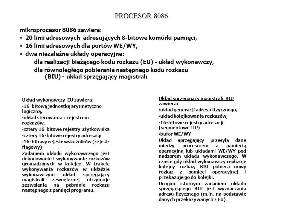 PROCESOR 8086 mikroprocesor 8086 zawiera: