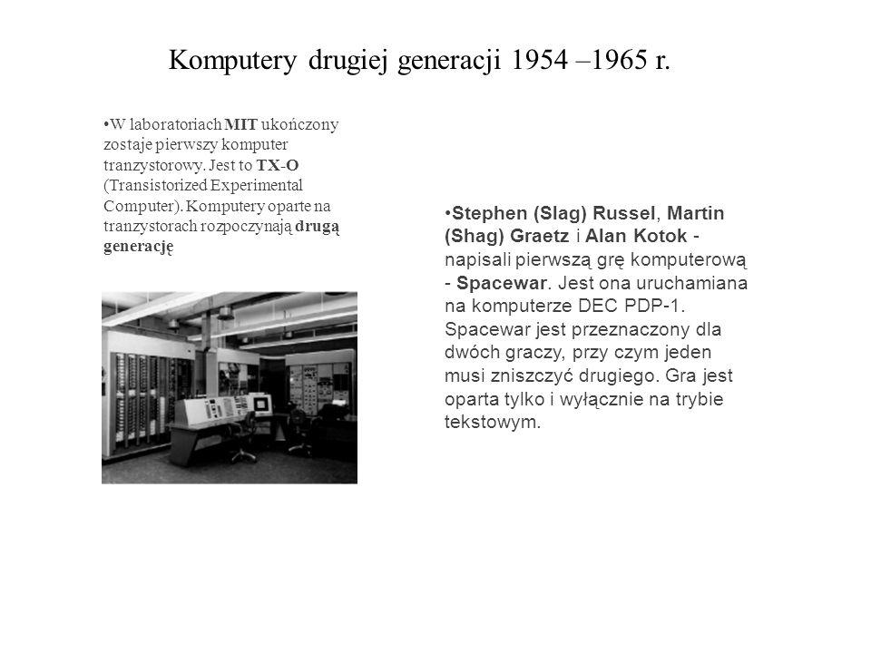 Komputery drugiej generacji 1954 –1965 r.