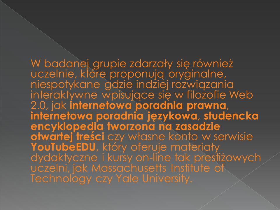 W badanej grupie zdarzały się również uczelnie, które proponują oryginalne, niespotykane gdzie indziej rozwiązania interaktywne wpisujące się w filozofie Web 2.0, jak internetowa poradnia prawna, internetowa poradnia językowa, studencka encyklopedia tworzona na zasadzie otwartej treści czy własne konto w serwisie YouTubeEDU, który oferuje materiały dydaktyczne i kursy on-line tak prestiżowych uczelni, jak Massachusetts Institute of Technology czy Yale University.