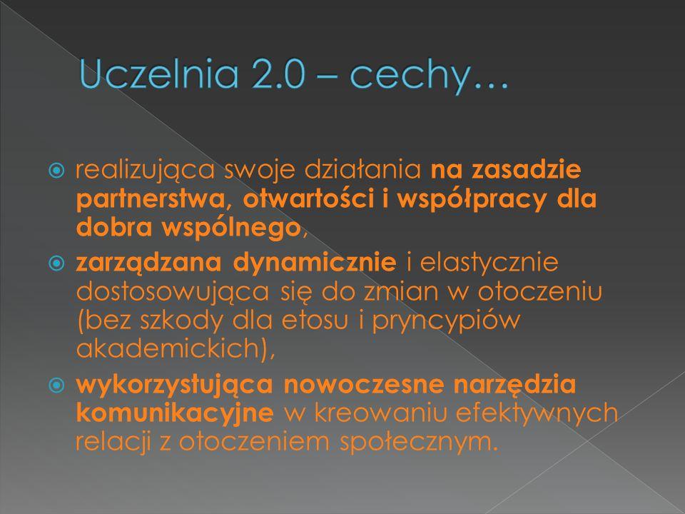 Uczelnia 2.0 – cechy… realizująca swoje działania na zasadzie partnerstwa, otwartości i współpracy dla dobra wspólnego,