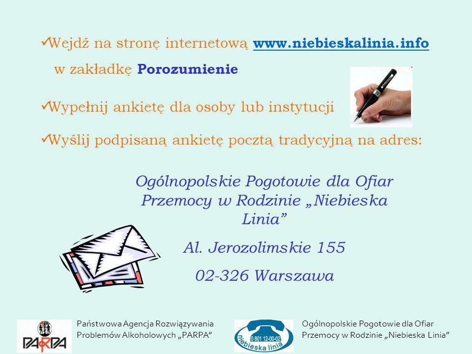 Wejdź na stronę internetową www.niebieskalinia.info