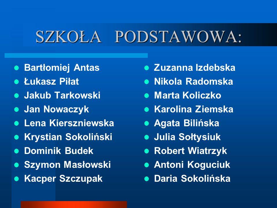 SZKOŁA PODSTAWOWA: Bartłomiej Antas Łukasz Piłat Jakub Tarkowski
