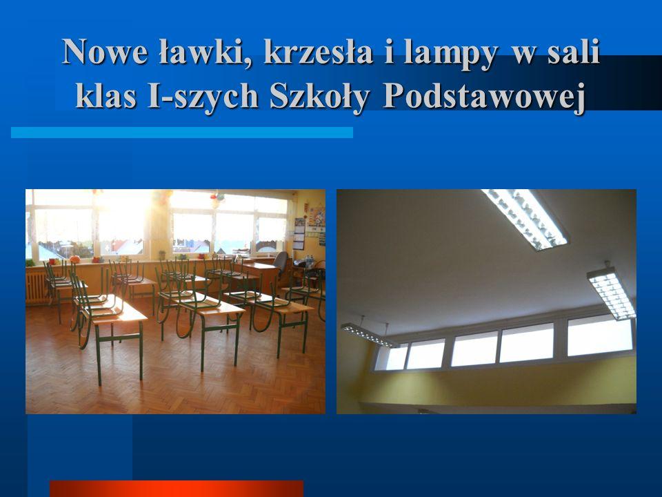 Nowe ławki, krzesła i lampy w sali klas I-szych Szkoły Podstawowej