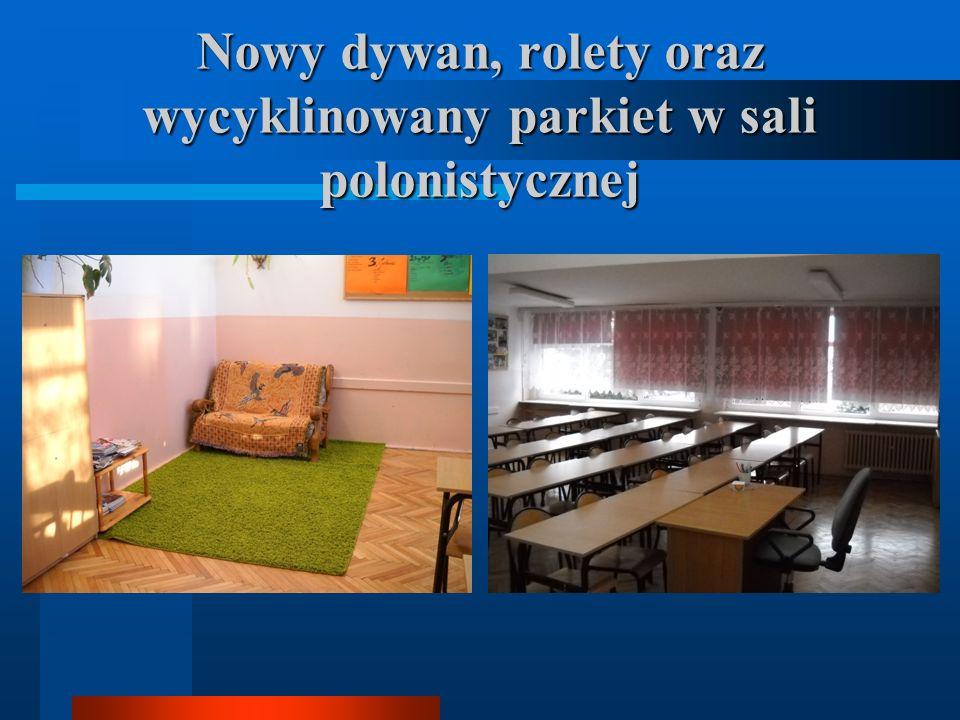 Nowy dywan, rolety oraz wycyklinowany parkiet w sali polonistycznej