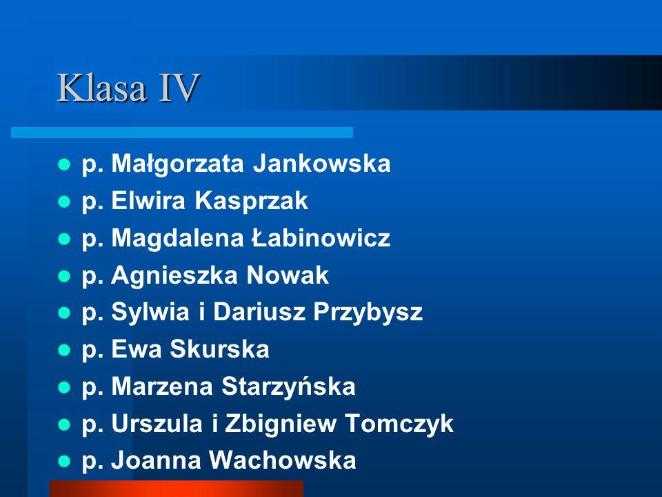 Klasa IV p. Małgorzata Jankowska p. Elwira Kasprzak