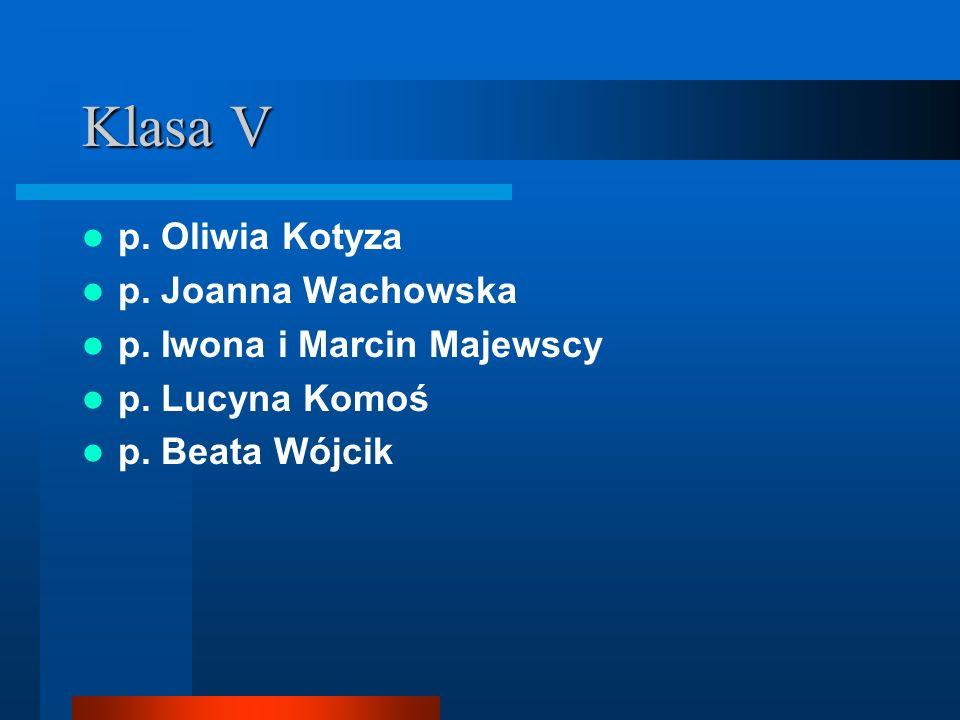 Klasa V p. Oliwia Kotyza p. Joanna Wachowska