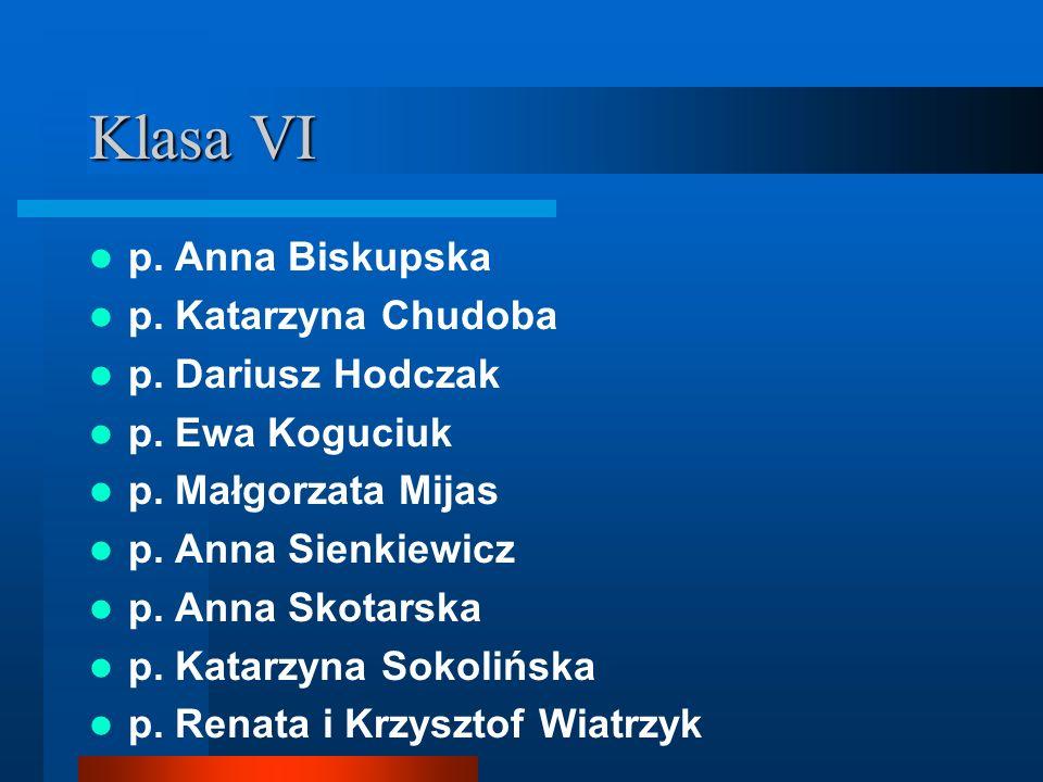 Klasa VI p. Anna Biskupska p. Katarzyna Chudoba p. Dariusz Hodczak
