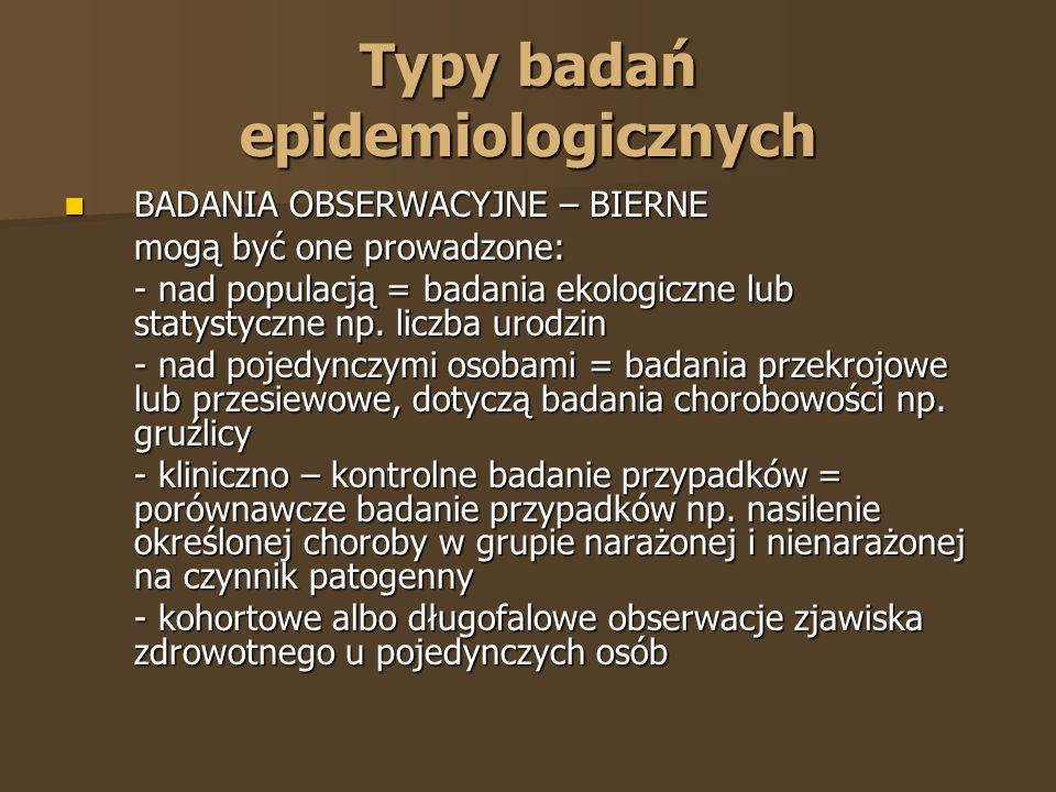Typy badań epidemiologicznych