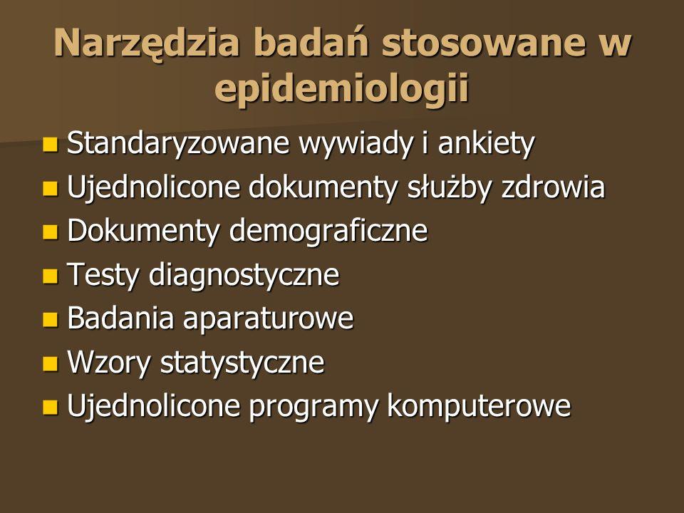 Narzędzia badań stosowane w epidemiologii