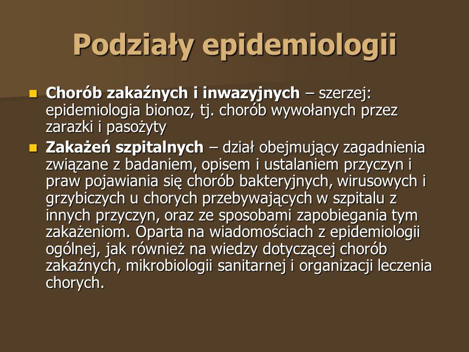 Podziały epidemiologii
