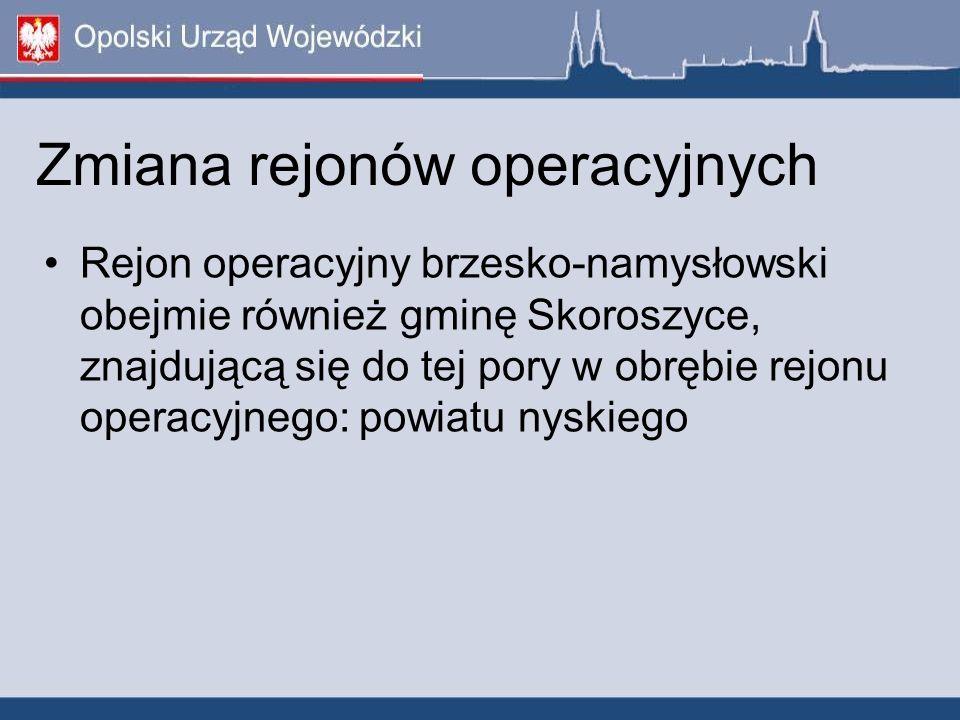 Zmiana rejonów operacyjnych