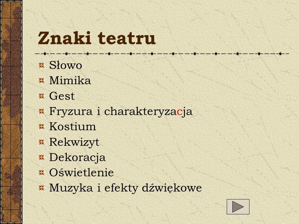 Znaki teatru Słowo Mimika Gest Fryzura i charakteryzacja Kostium