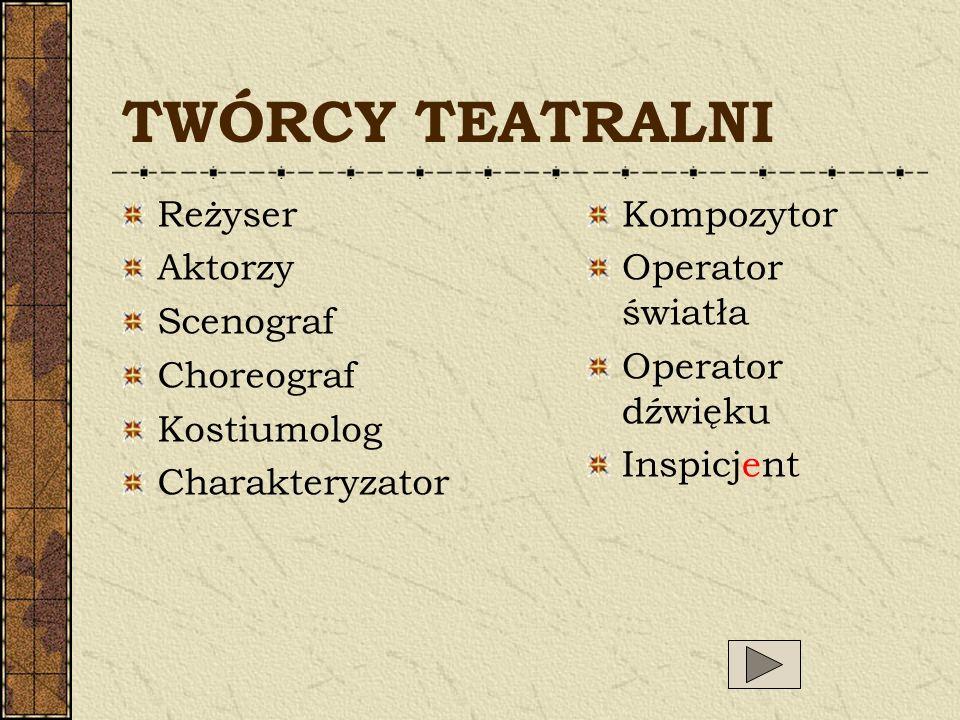 TWÓRCY TEATRALNI Reżyser Aktorzy Scenograf Choreograf Kostiumolog