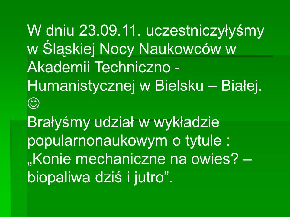 W dniu 23.09.11. uczestniczyłyśmy w Śląskiej Nocy Naukowców w Akademii Techniczno - Humanistycznej w Bielsku – Białej. 