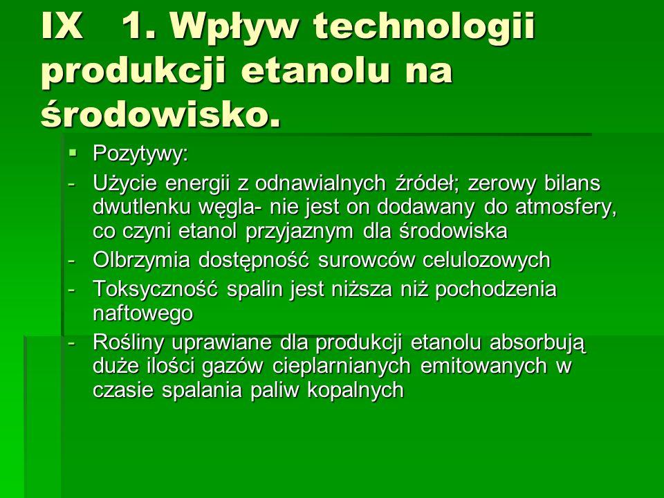 IX 1. Wpływ technologii produkcji etanolu na środowisko.